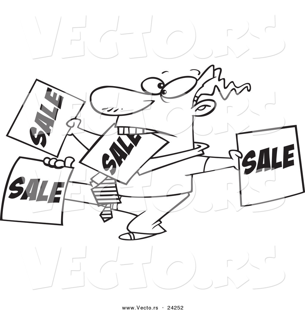 Vector of a Cartoon Salesman Holding up Many Signs - Outlined ...