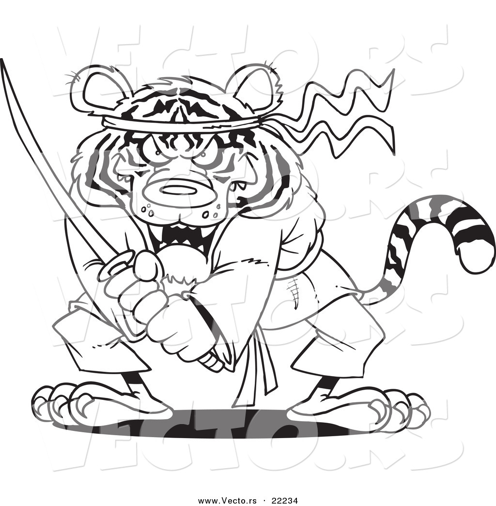 Vector Of A Cartoon Samurai Tiger With Sword