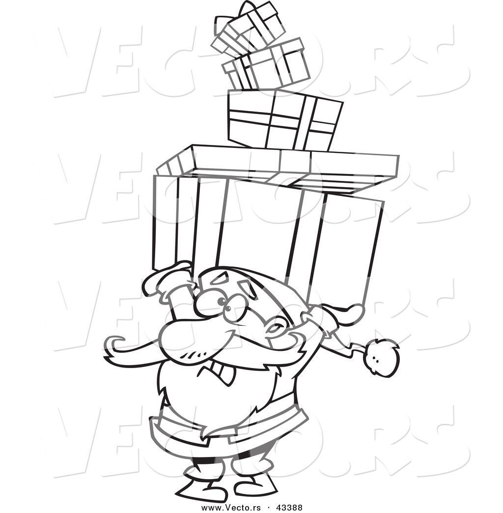 vector of a cartoon santa carrying a stack of christmas presents over his head