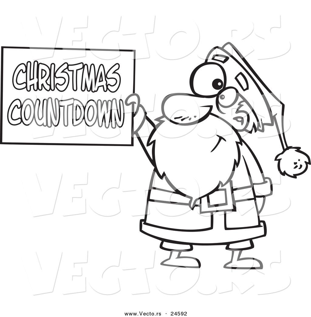 Vector of a Cartoon Santa Holding a Christmas Countdown Sign ...