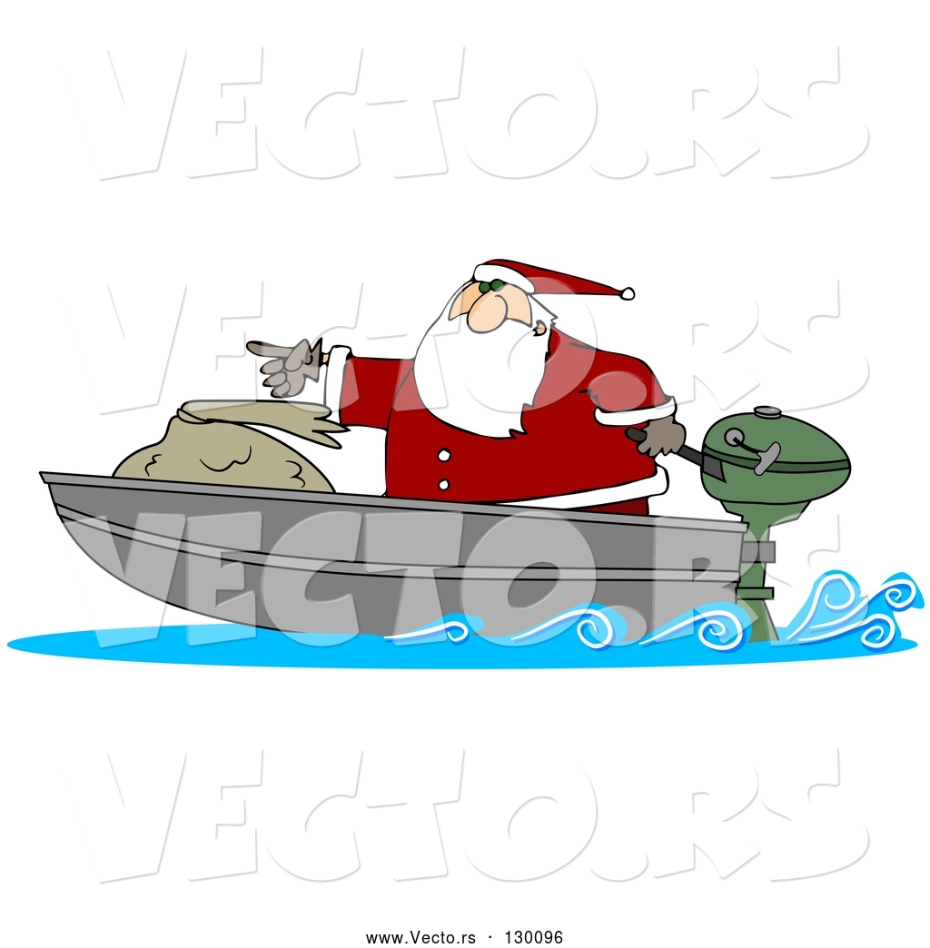 566455e0712aa Vector of a Cartoon Santa Pointing Forward on Small Boad with Big Toy Sack