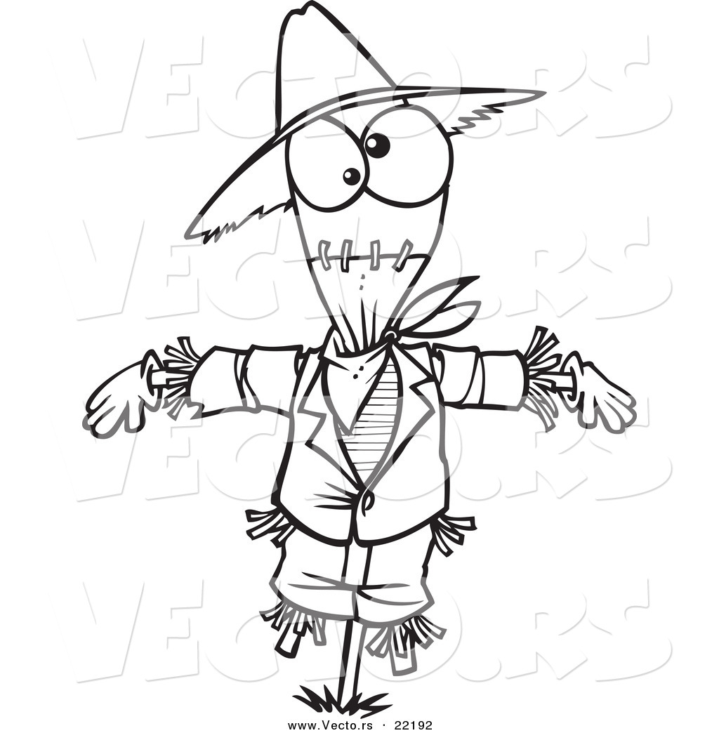 vector of a cartoon scarecrow outlined coloring page by toonaday