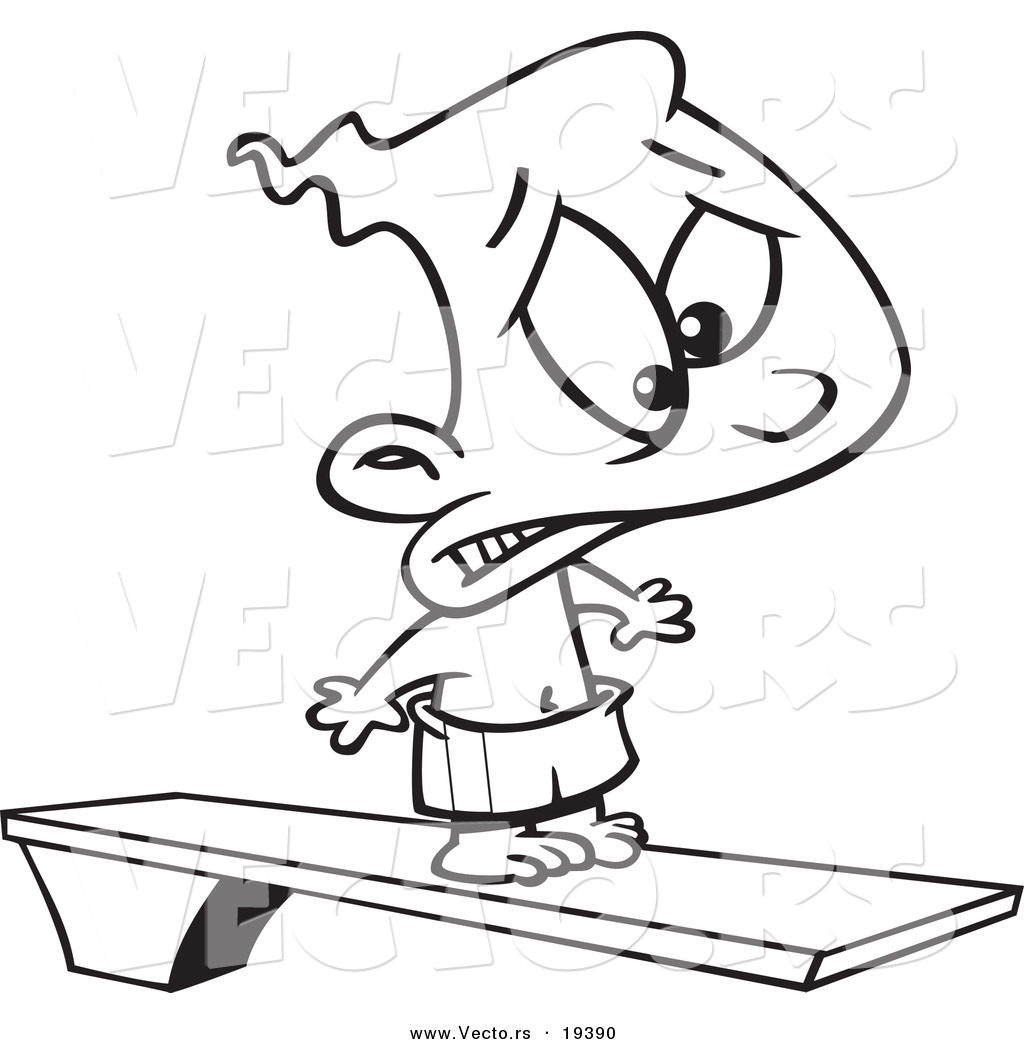 vector of a cartoon scared boy on a diving board outlined