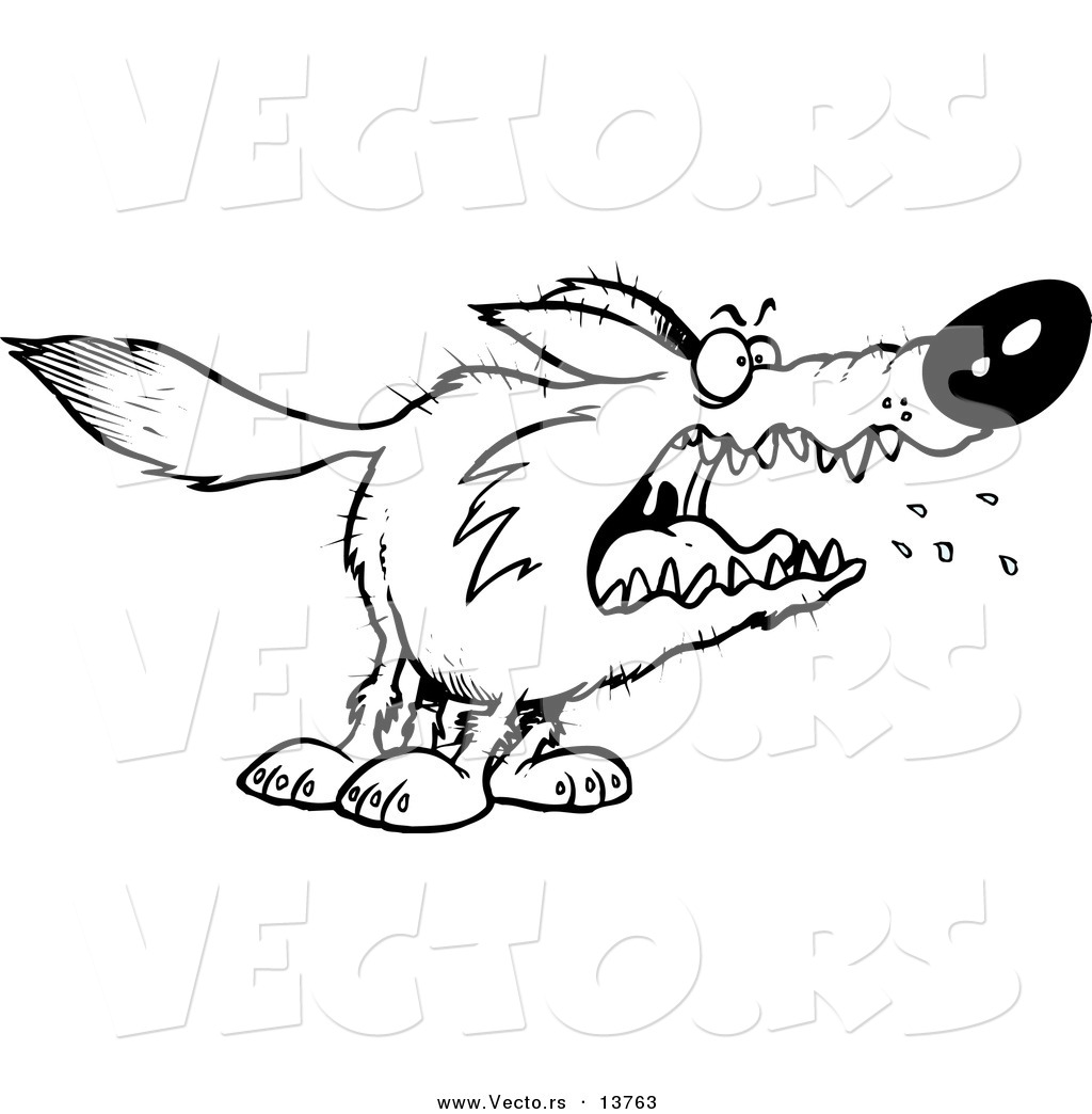 Coloring pages vector - Vector Of A Cartoon Scary Wolf Coloring Page Outline