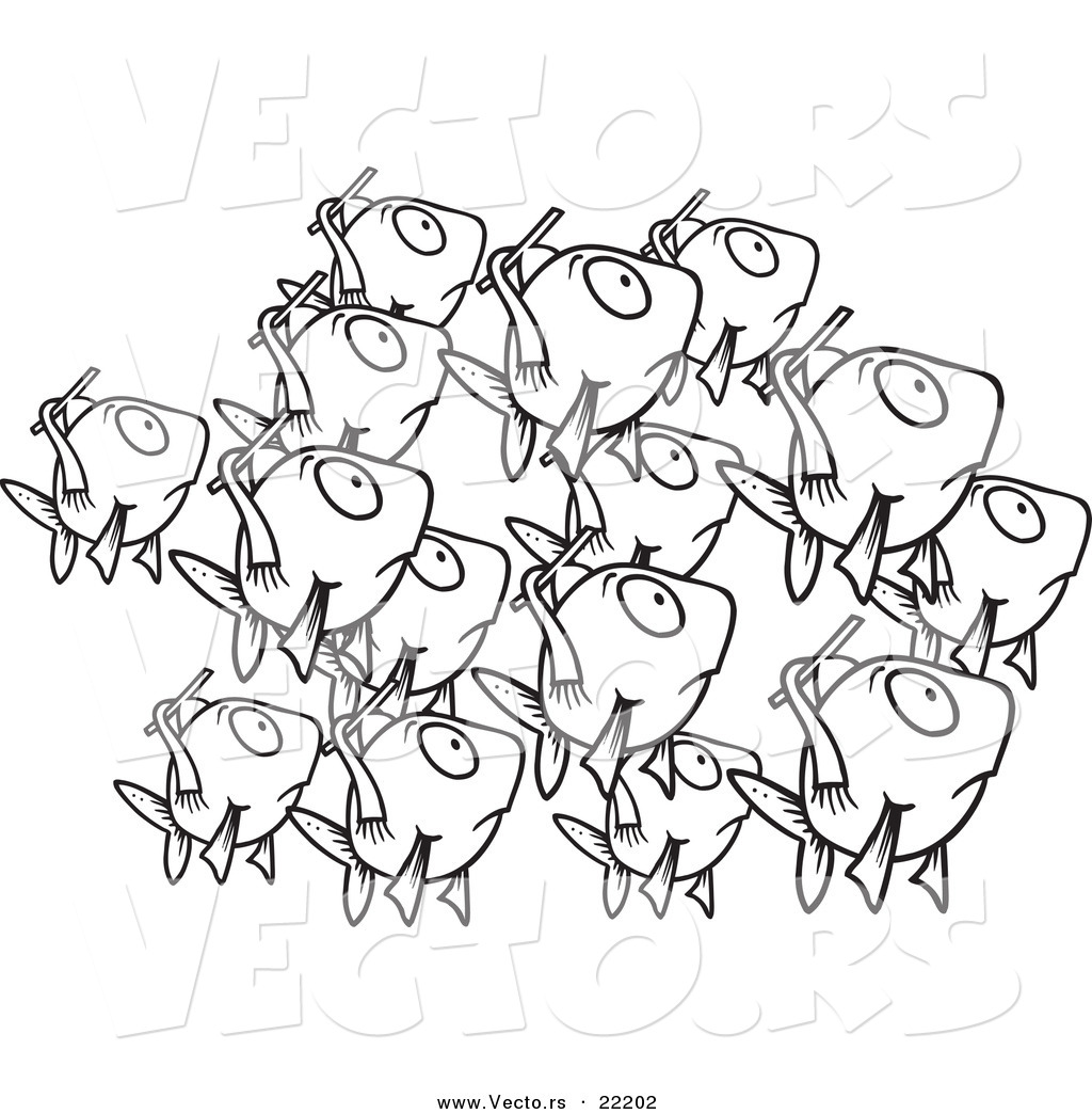 Vector of a Cartoon School of Fish - Outlined Coloring Page