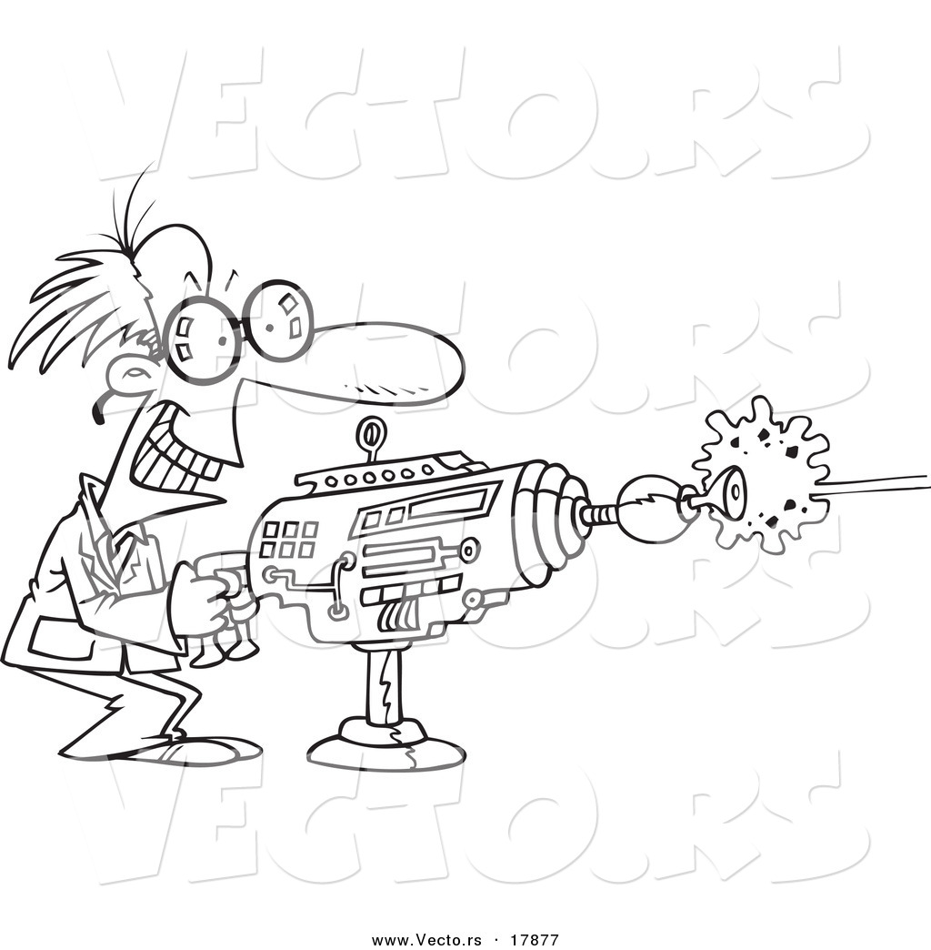 vector of a cartoon scientist using a laser gun outlined
