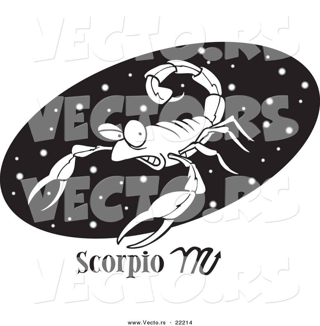 vector of a cartoon scorpio scorpion over a black oval outlined