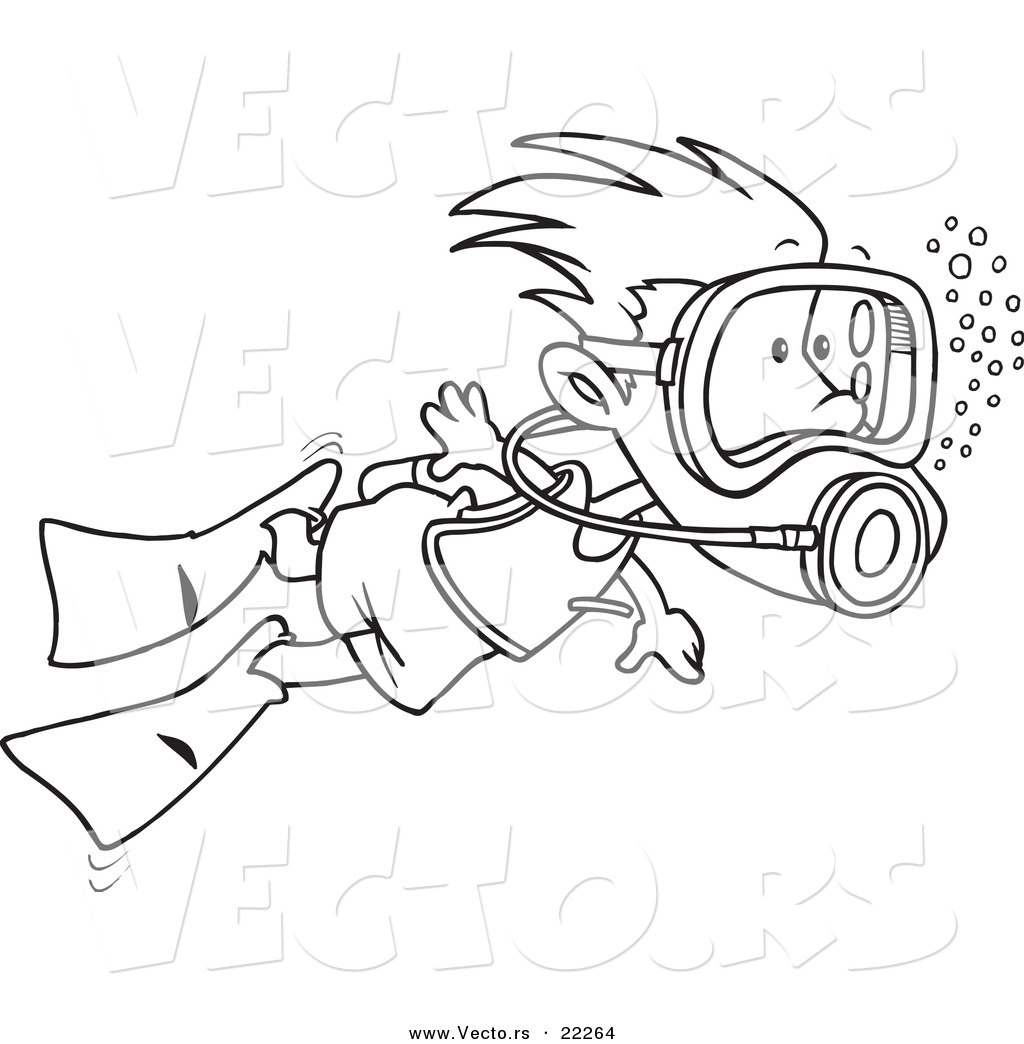 vector of a cartoon scuba diving boy outlined coloring page by