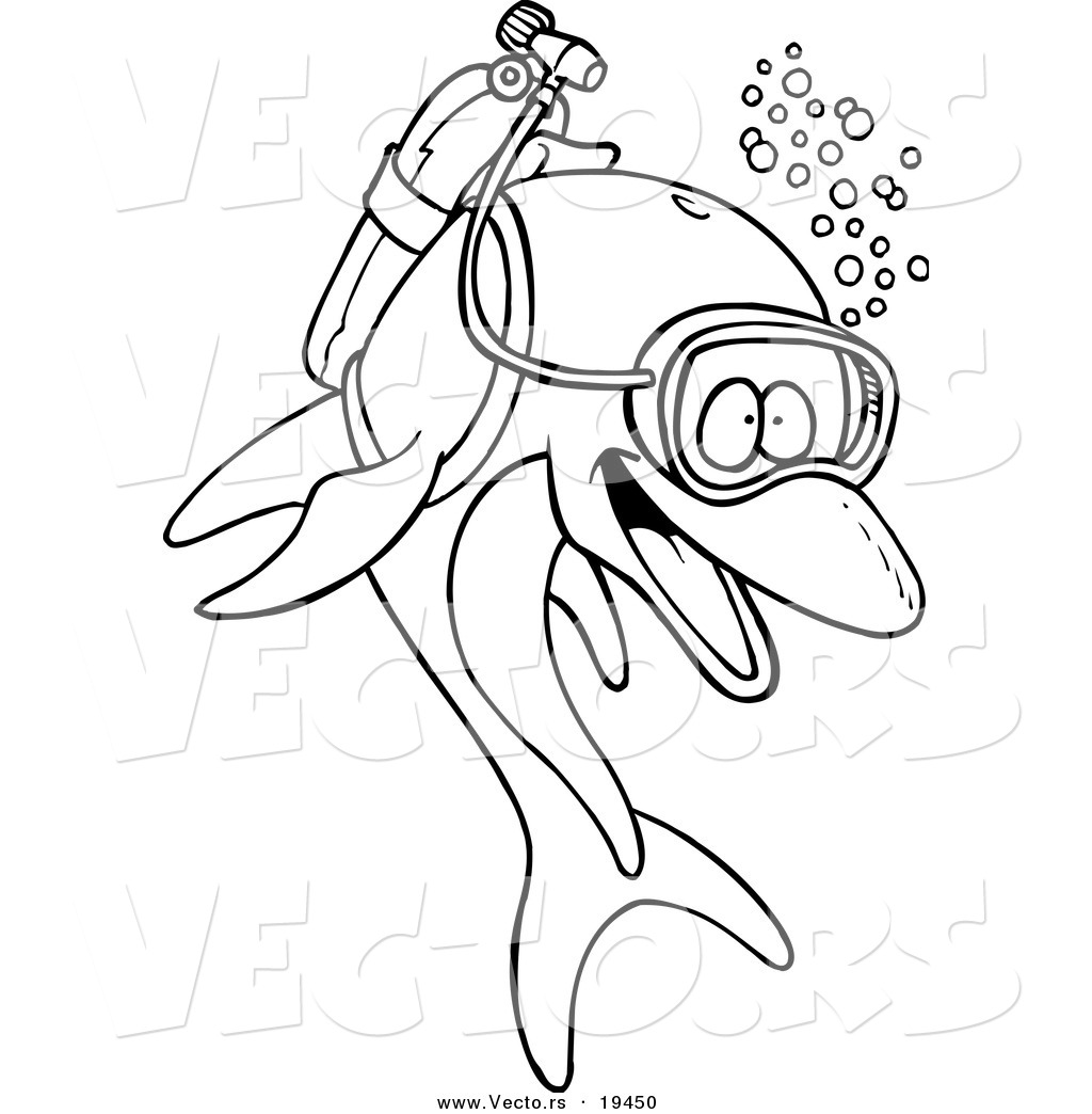 vector of a cartoon scuba dolphin outlined coloring page