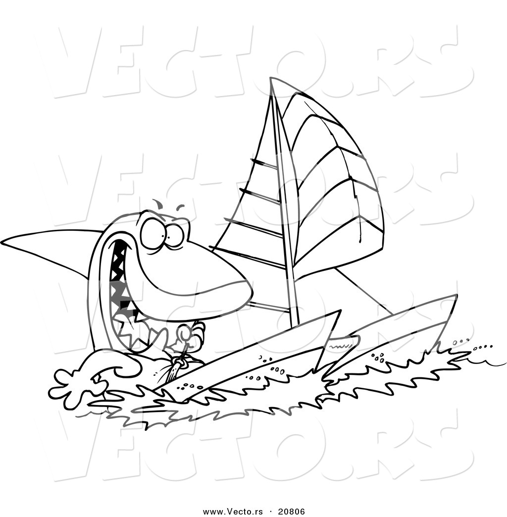 vector of a cartoon shark sailing a catamaran coloring page