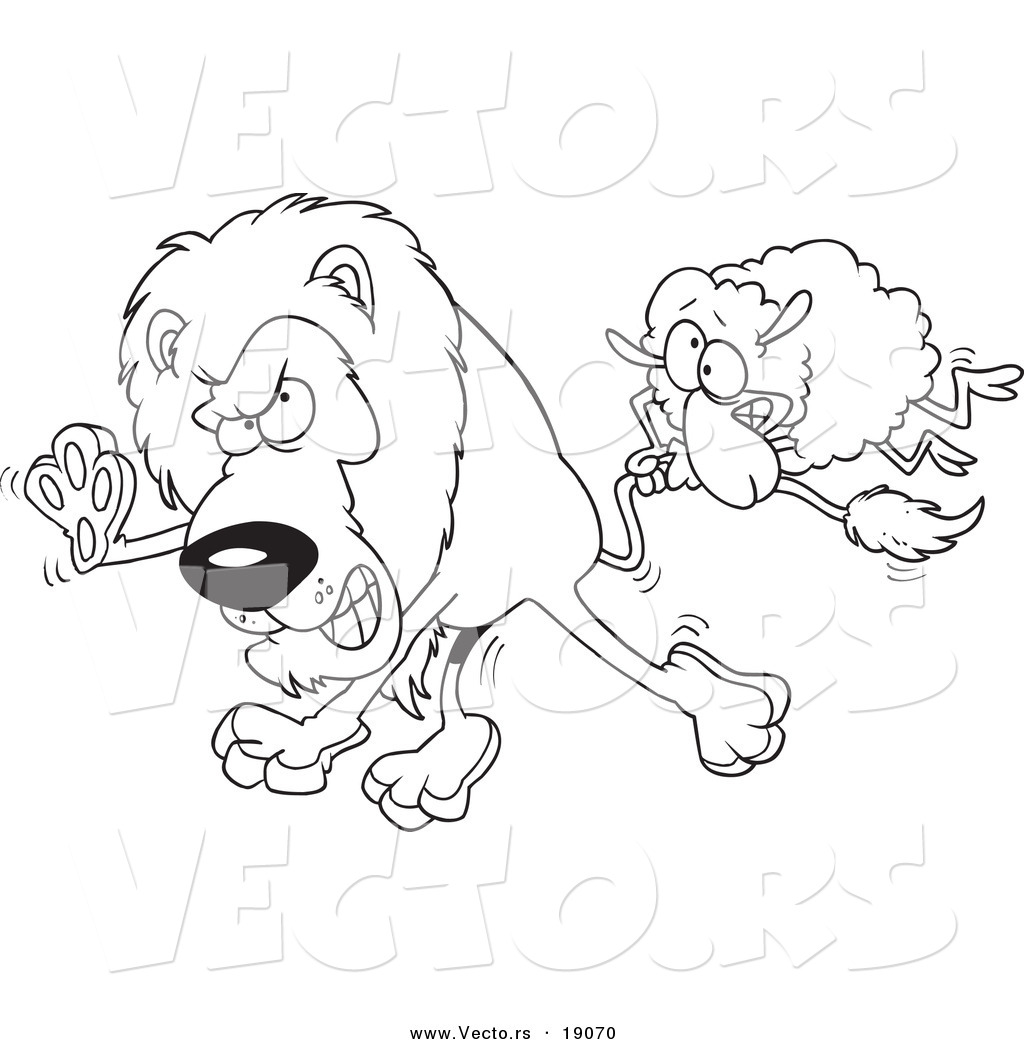 vector of a cartoon sheep attacking a lion outlined coloring