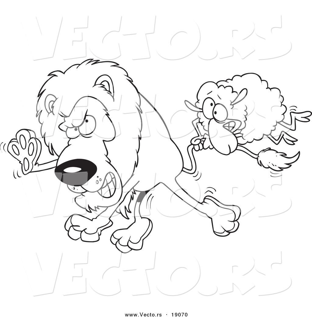 Vector Of A Cartoon Sheep Attacking Lion