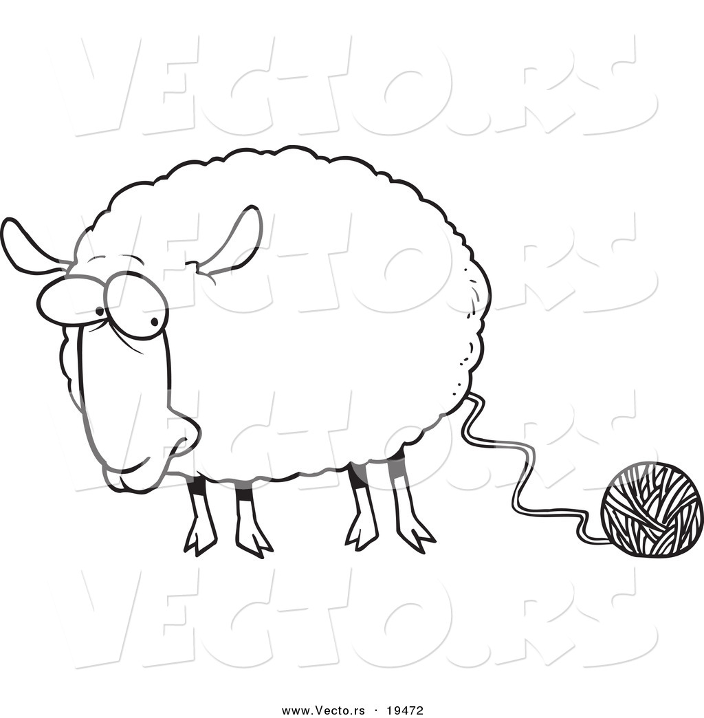 vector of a cartoon sheep connected to yarn outlined coloring page