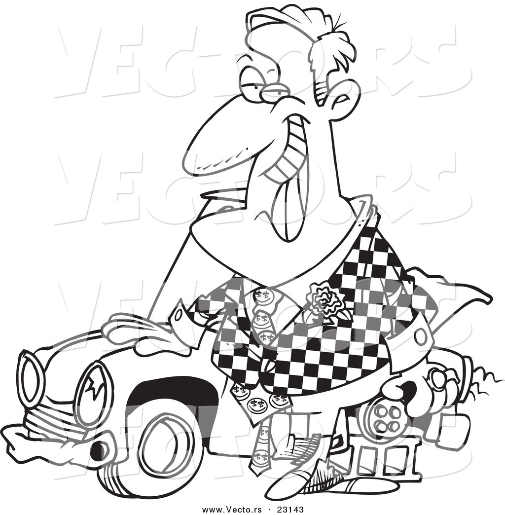 vector of a cartoon shifty car salesman coloring page outline by
