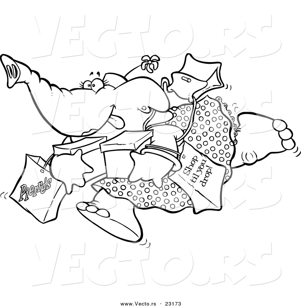 vector of a cartoon shopping elephant coloring page outline by