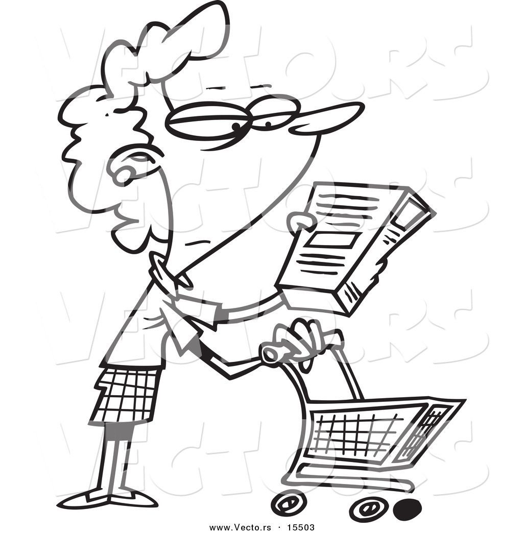 Vector of a Cartoon Shopping Woman Reading an Ingredient ...