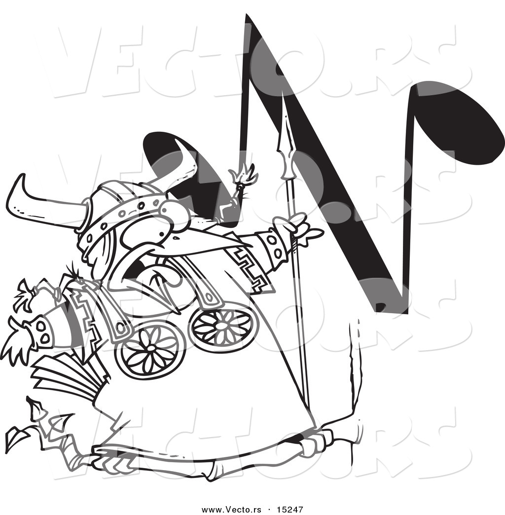 vector of a cartoon singing viking bird with an n music note