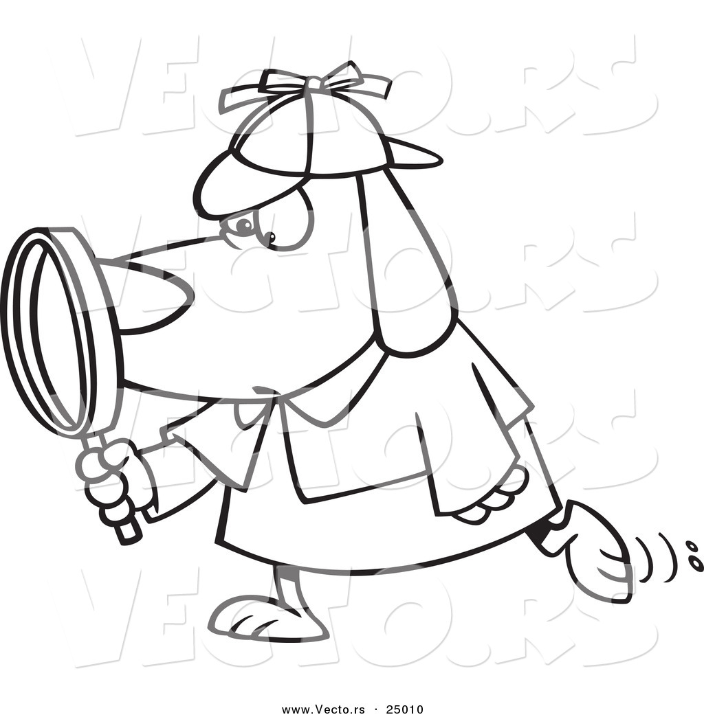 Vector Of A Cartoon Sleuth Dog Using Magnifying Glass