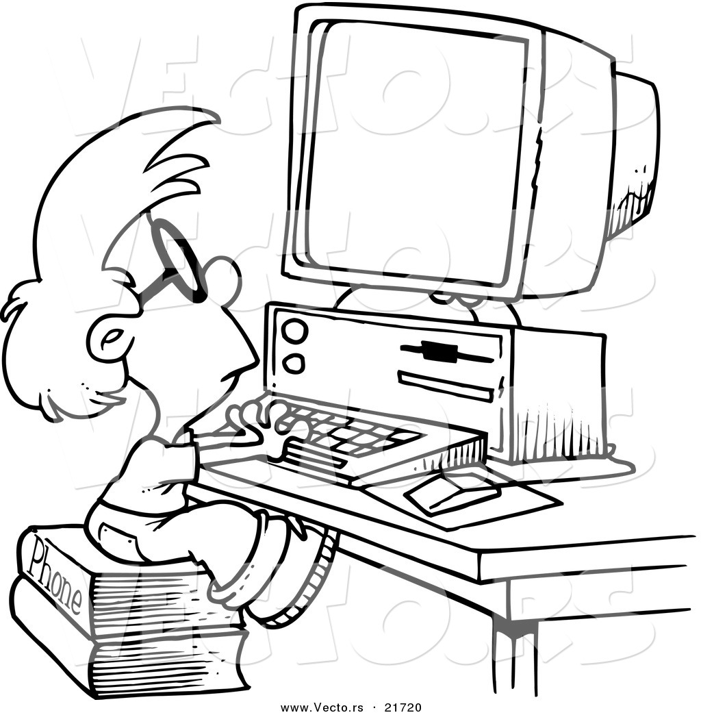 Vector of a Cartoon Smart Boy Using a Computer - Outlined Coloring ...