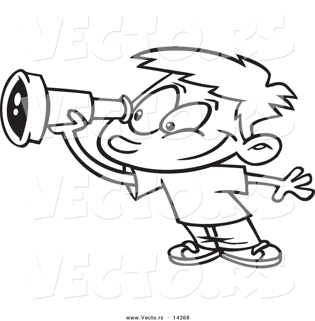 vector of a cartoon smiling boy using a telescope coloring page