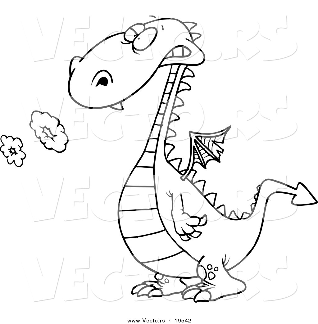 vector of a cartoon smoking dragon outlined coloring page