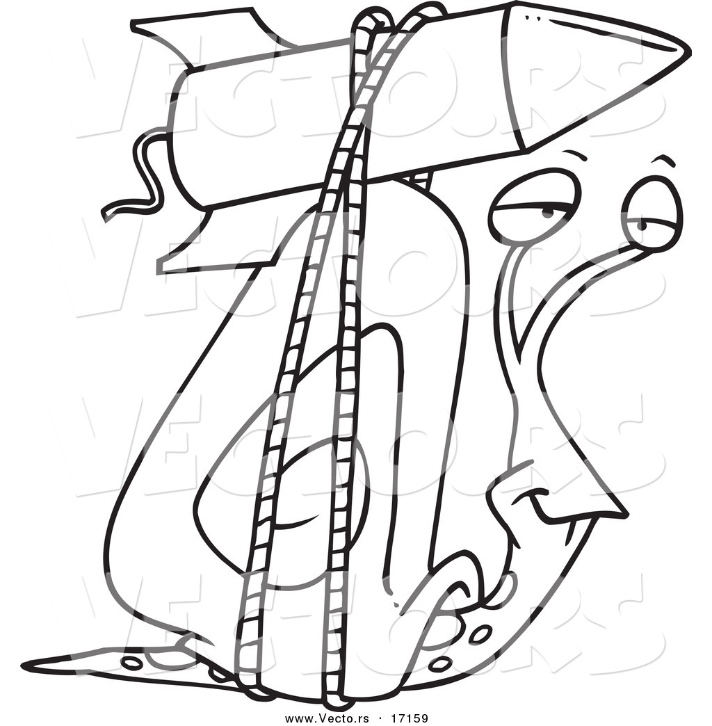 vector of a cartoon snail with a rocket boost strapped on his