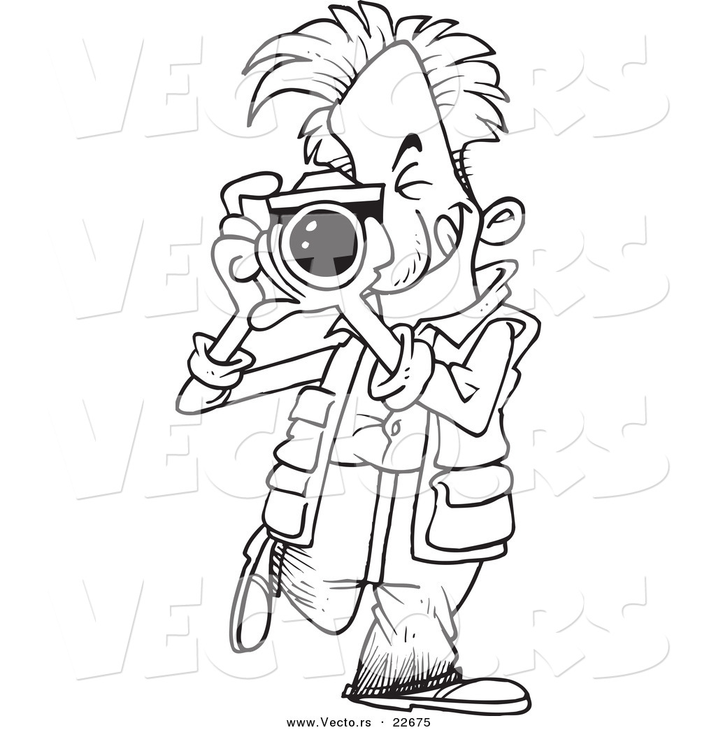vector of a cartoon snappy photographer coloring page outline