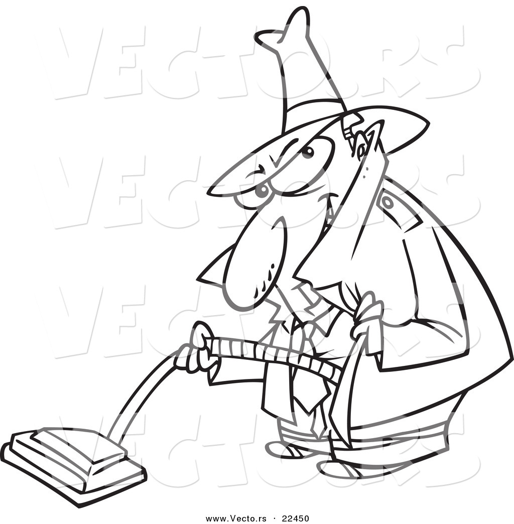 vector of a cartoon sneaky man using a vacuum coloring page