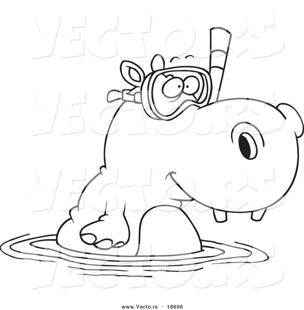 Free coloring pages hippopotamus - Vector Of A Cartoon Snorkeling Hippo Outlined Coloring Page