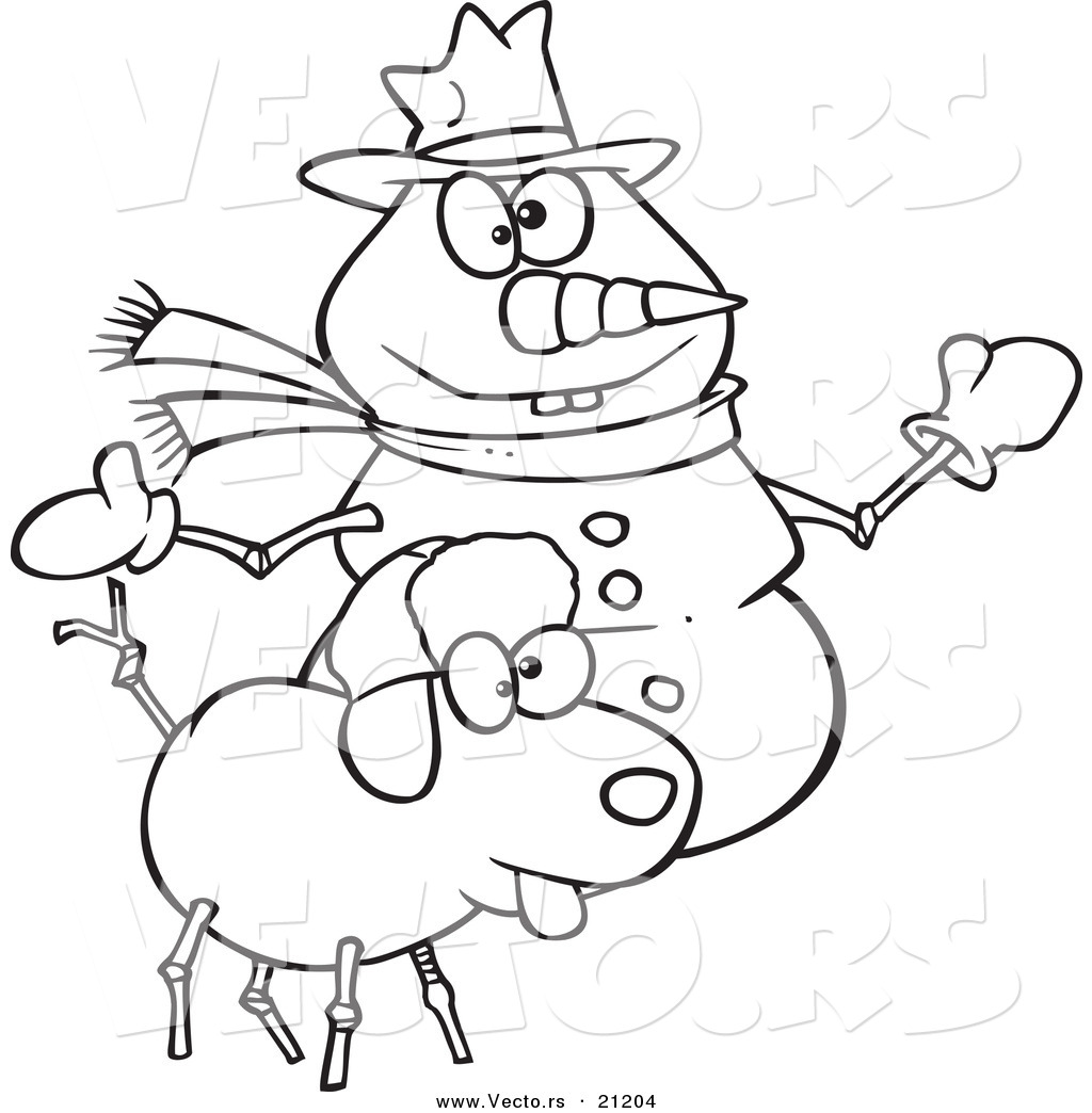 vector of a cartoon snow dog and snowman coloring page outline