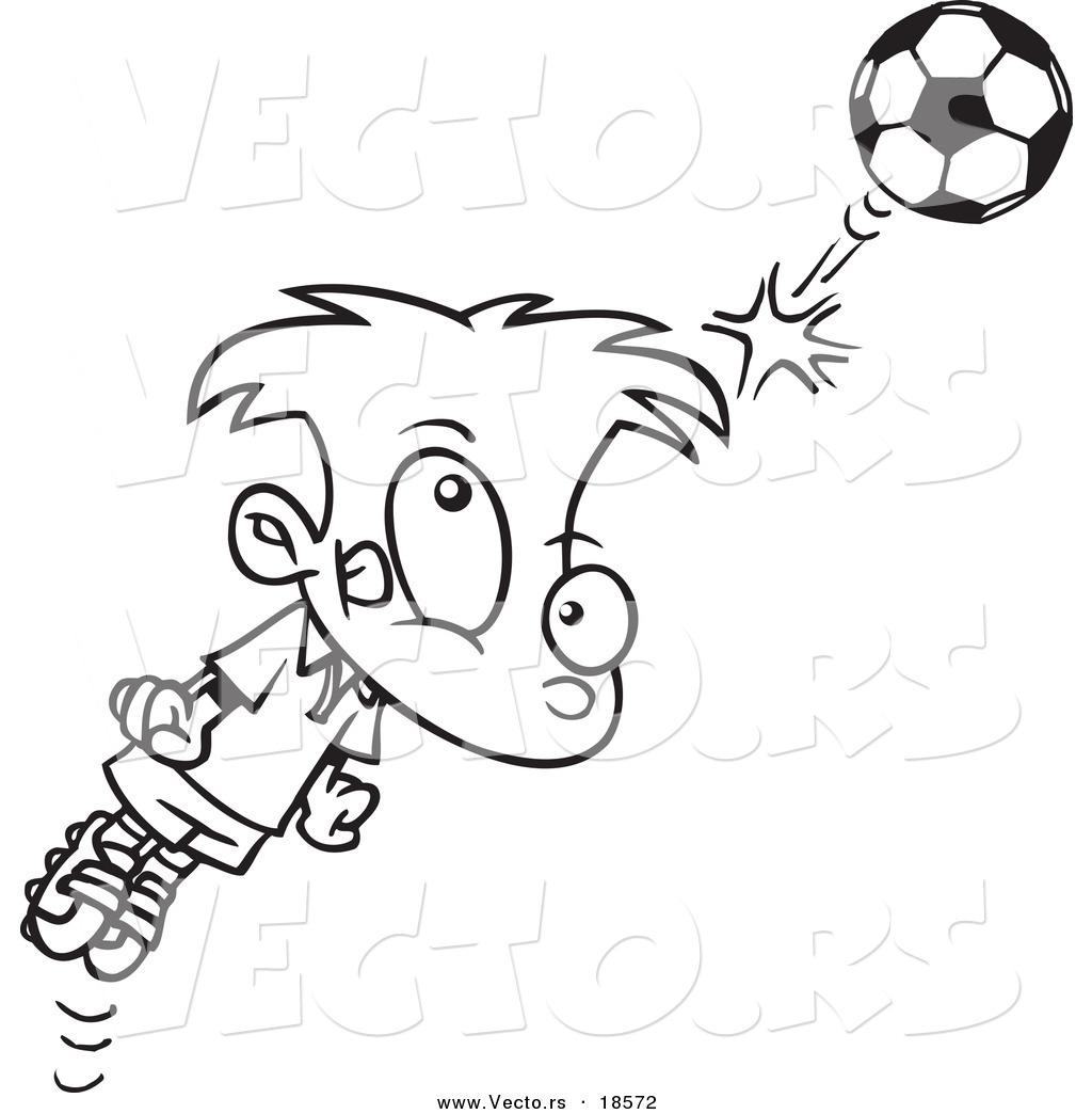 vector of a cartoon soccer boy bouncing a ball off his head