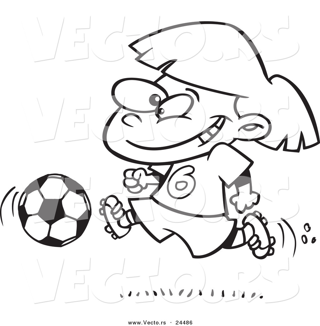 Vector of a Cartoon Soccer Girl Running Outlined Coloring Page