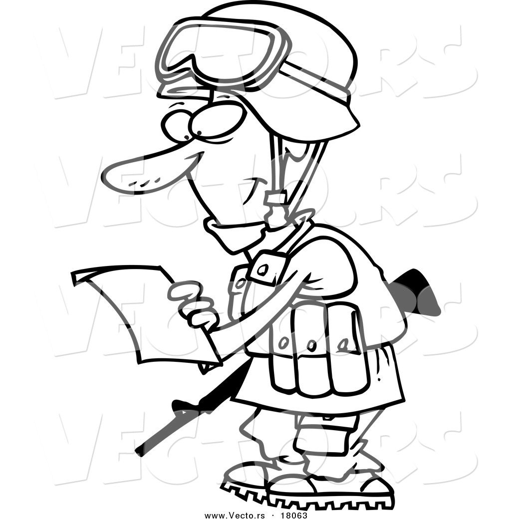 vector of a cartoon soldier reading a letter outlined coloring