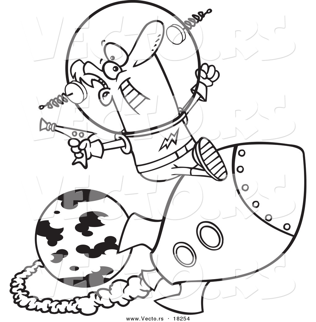 Vector of a cartoon space man riding a rocket outlined coloring