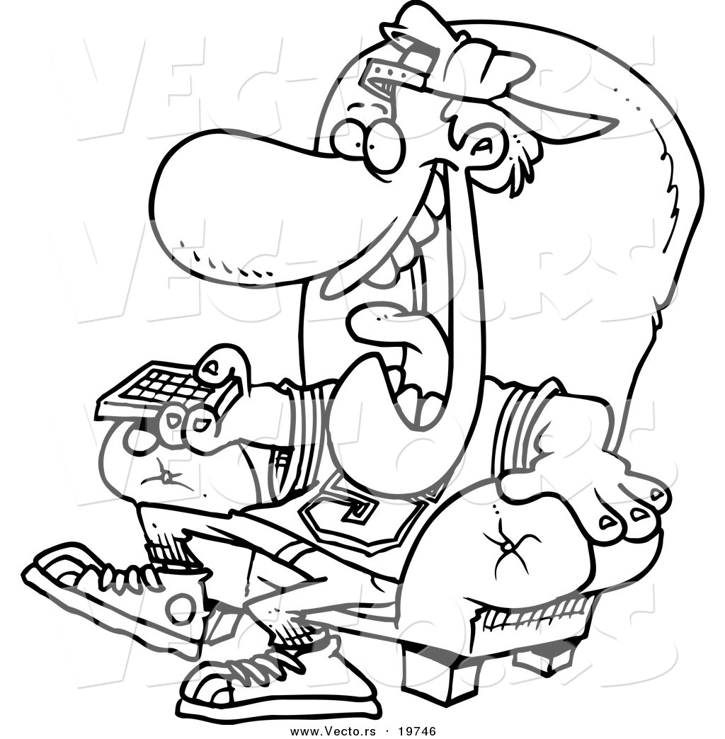 vector of a cartoon sports fan holding a tv remote