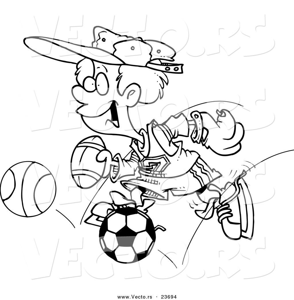 Vector of a Cartoon Sporty Boy with a Baseball Glove, Basketball ...
