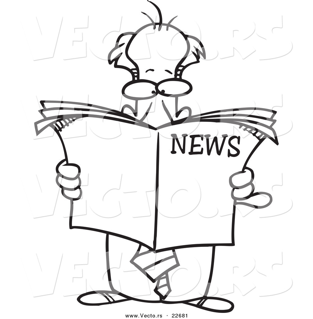 Free coloring pages for reading - Vector Of A Cartoon Standing Businessman Reading The News Coloring Page Outline