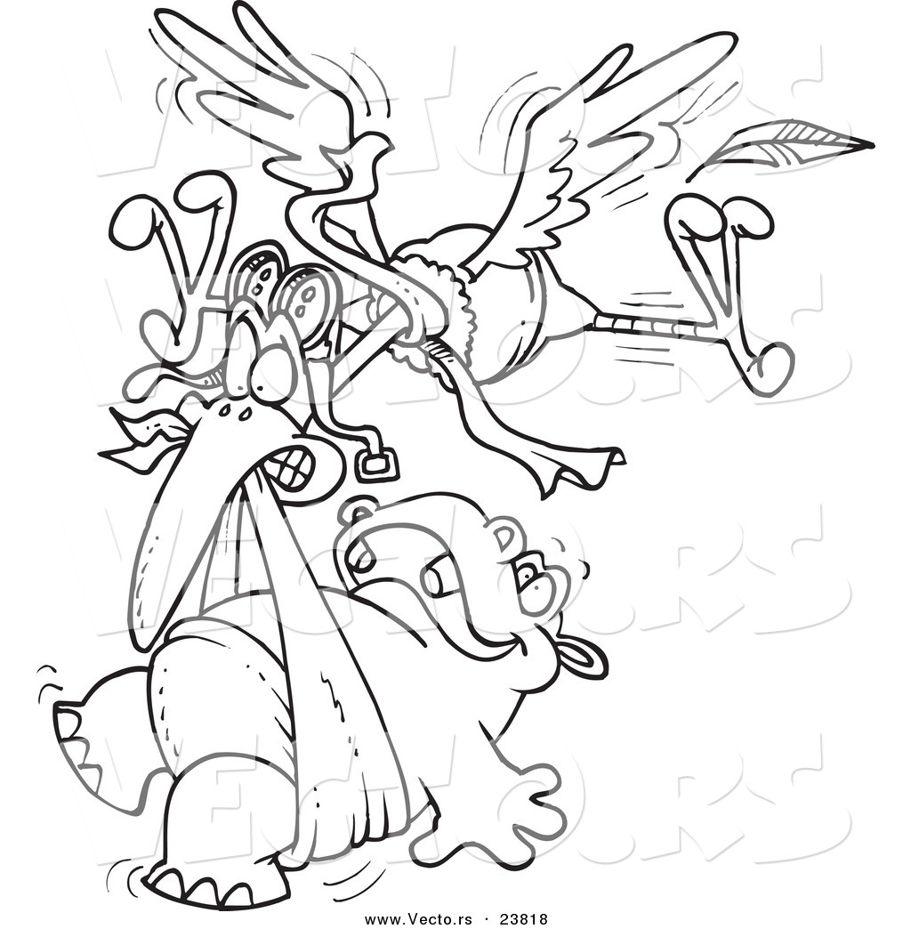 vector of a cartoon stork delivering a baby hippo coloring page outline