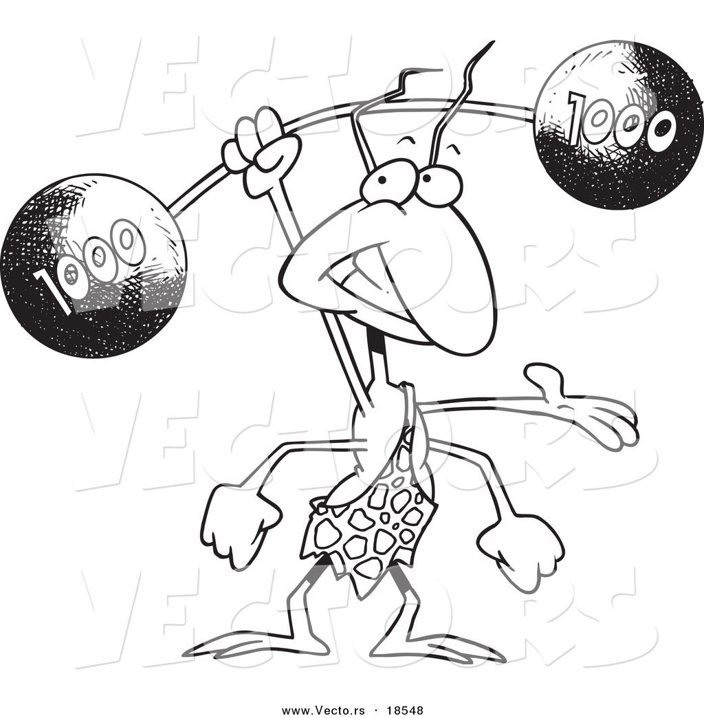 vector of a cartoon strong ant lifting a barbell outlined coloring page - Ant Coloring Page Black White