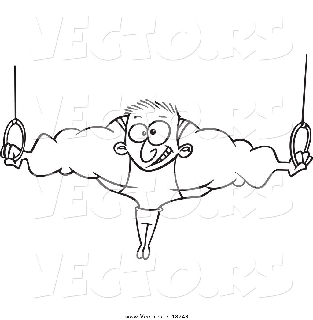 vector of a cartoon strong olympic man on the rings outlined