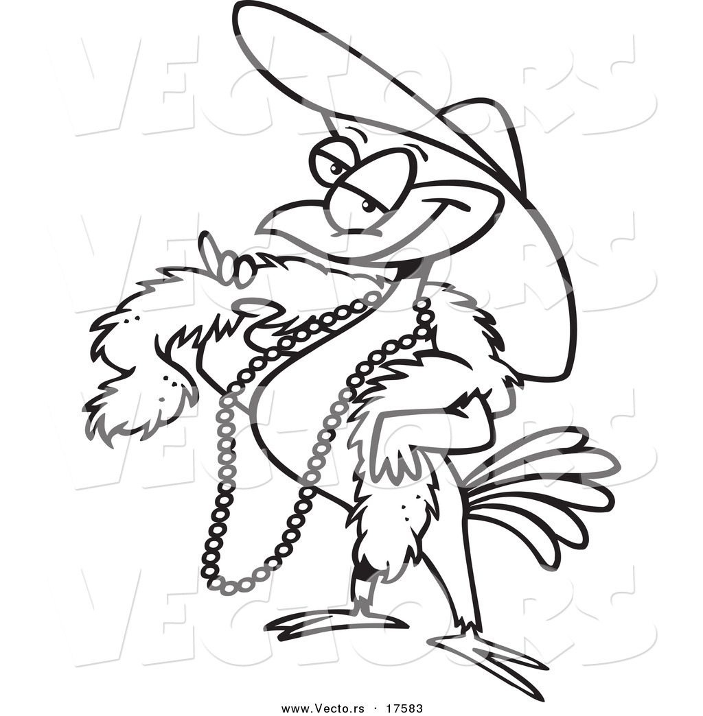 vector of a cartoon stylish bird wearing a hat coloring page