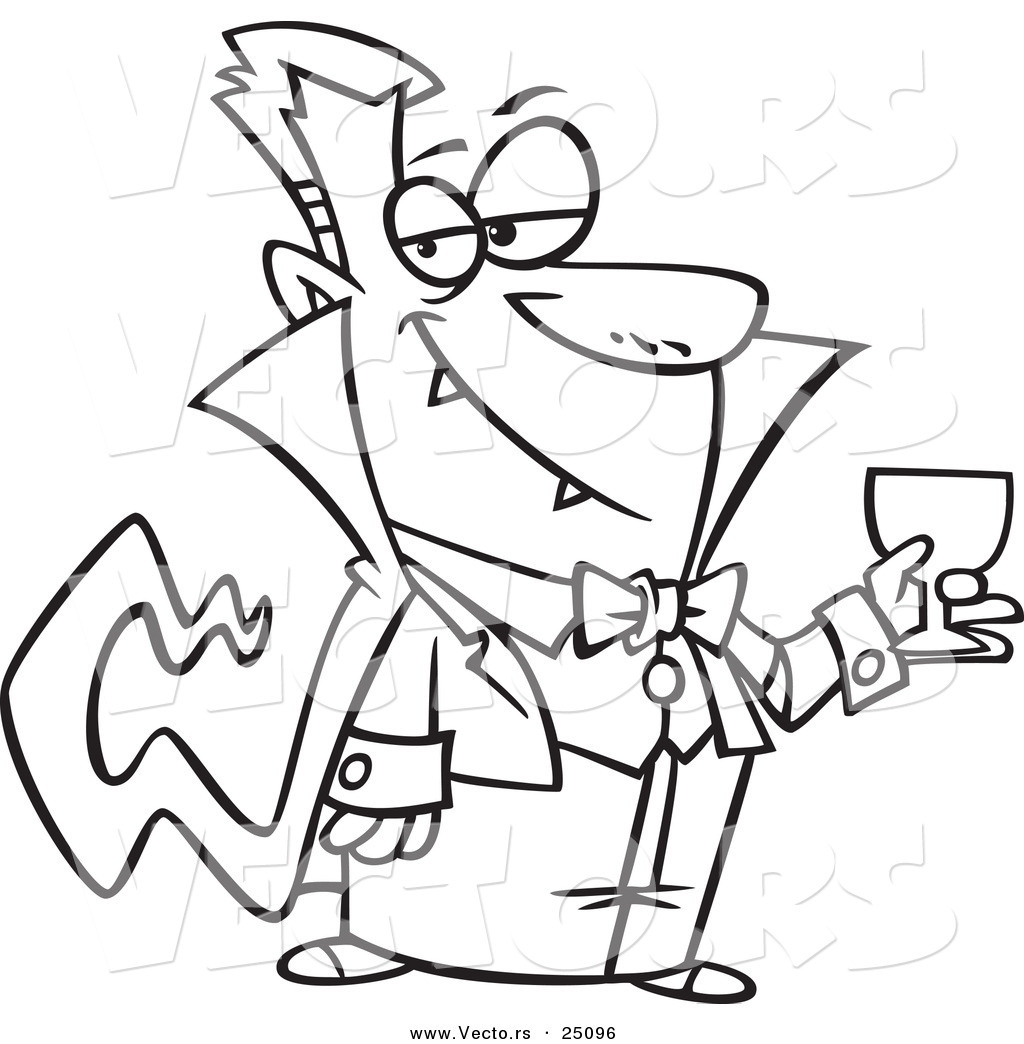 Vector Of A Cartoon Suave Halloween Dracula Vampire Drinking Blood