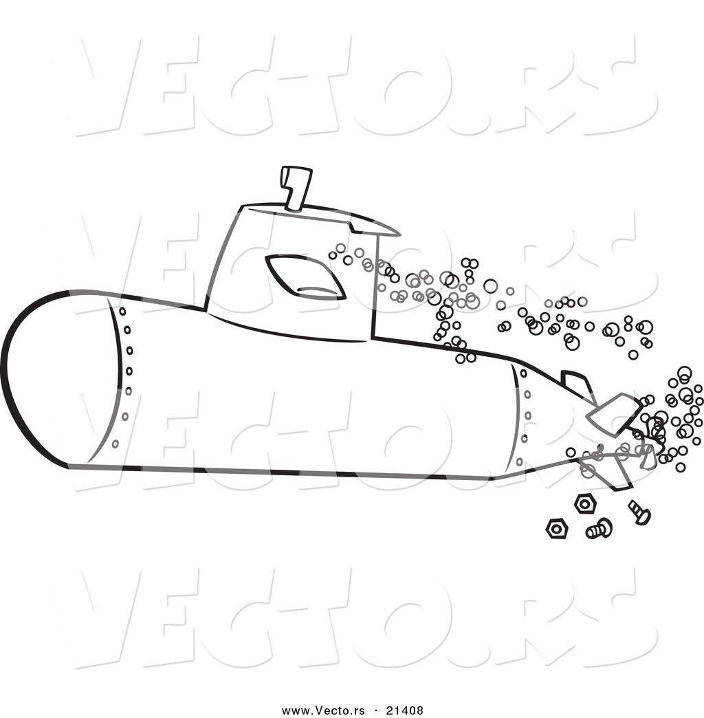 Vector Of A Cartoon Submerged Submarine Outlined Coloring Page Submarine Coloring Pages
