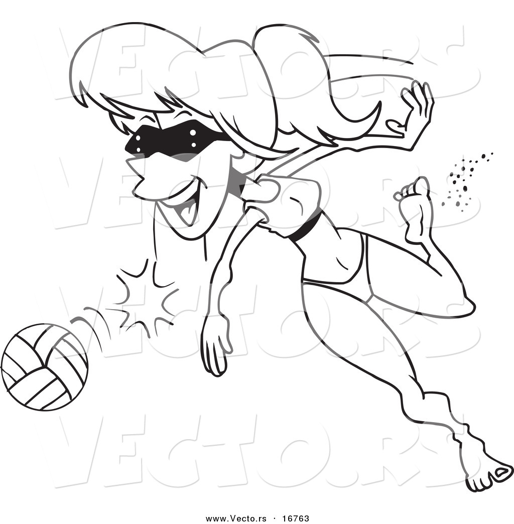 vector of a cartoon summer woman playing beach volleyball