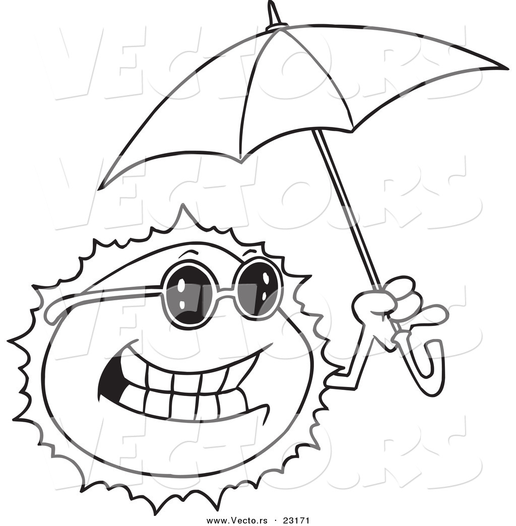 vector of a cartoon sun holding an umbrella coloring page outline - Sun Coloring Pages