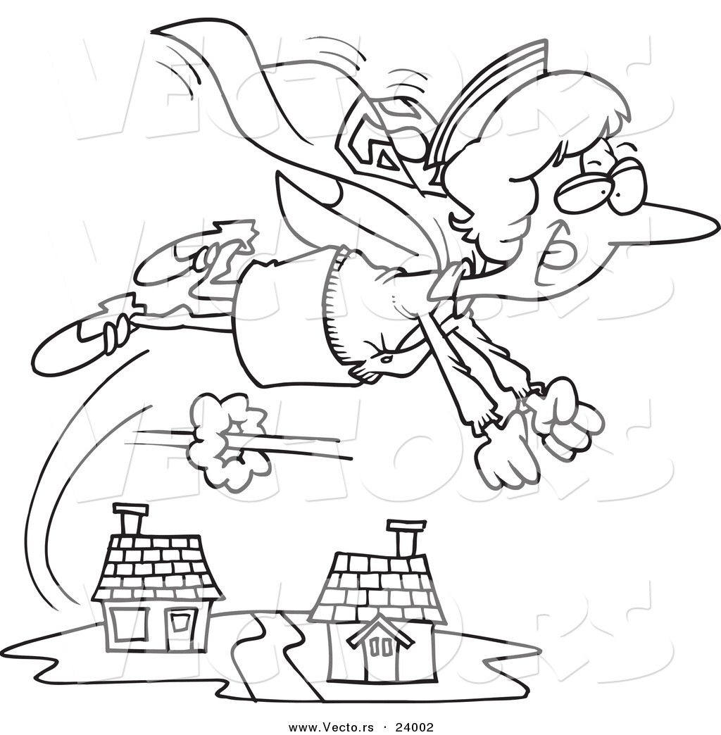 Vector Of A Cartoon Super Nurse Flying Coloring Page Outline By Toonaday 24002
