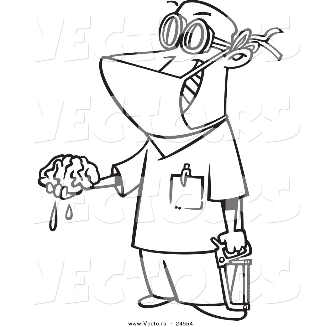 Vector Of A Cartoon Surgeon Holding Brain Out