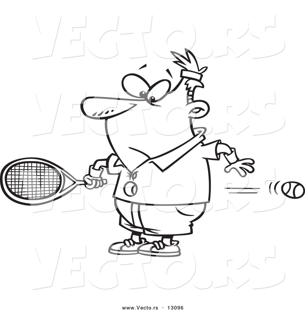 vector of a cartoon surprised man watching a fast tennis ball fly through his belly