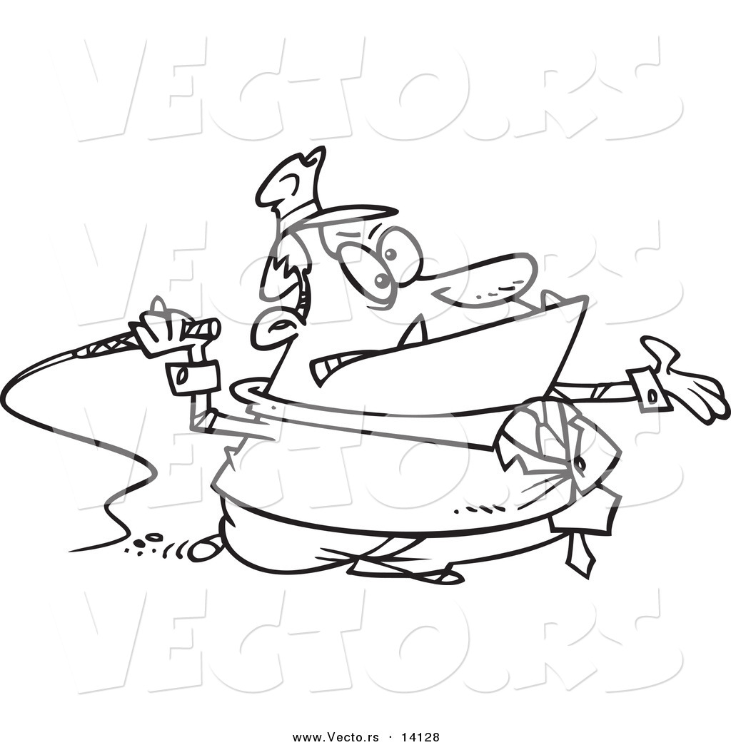 vector of a cartoon tax grabber with a whip coloring page