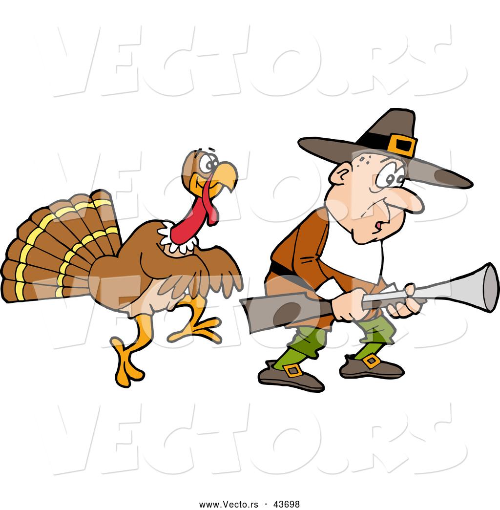 vector of a cartoon thanksgiving turkey stalking a pilgrim hunter